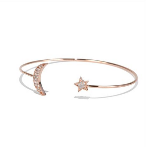 Rose Gold Moon & Star Bangle - Melroso Jewelry