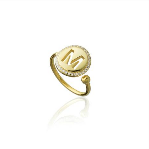 Pave Initial Ring - Melroso