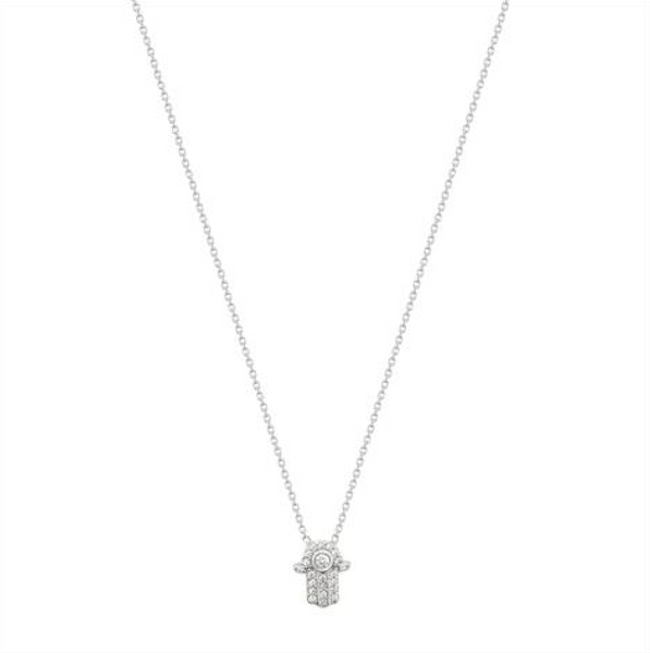 Sterling Silver Mini Hamsa Necklace - Melroso