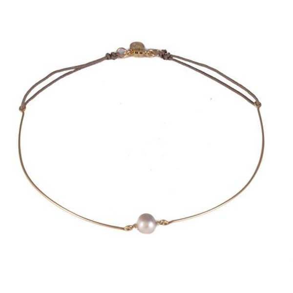 Pear Choker with White Pearl - Melroso Jewelry