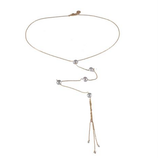 Perle Long Lariat Necklace with White Pearls - Dafne - Melroso