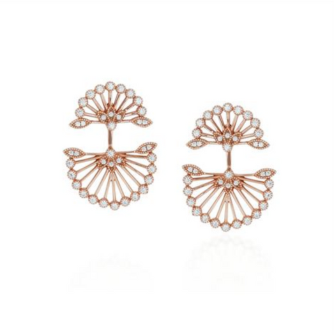 Fan Ear Jacket (Rose Gold) - Melroso Jewelry