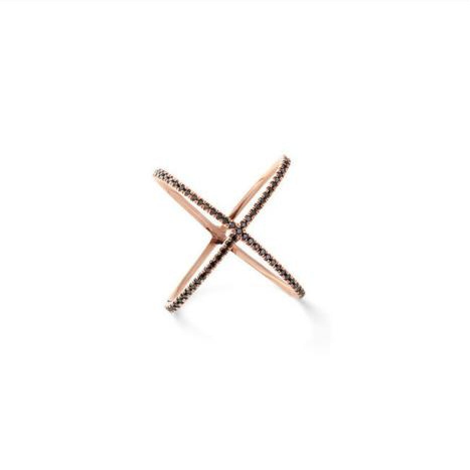 Pavé X Ring (Rose Gold) - Melroso Jewelry