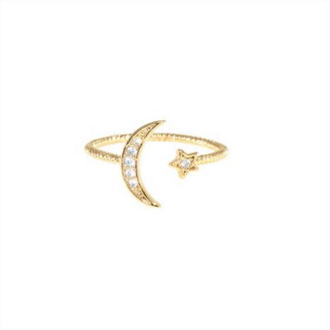 Moon and Star Ring - Melroso Jewelry