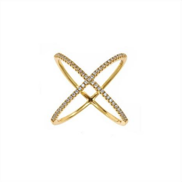 Pavé X Ring (Gold) - Melroso Jewelry