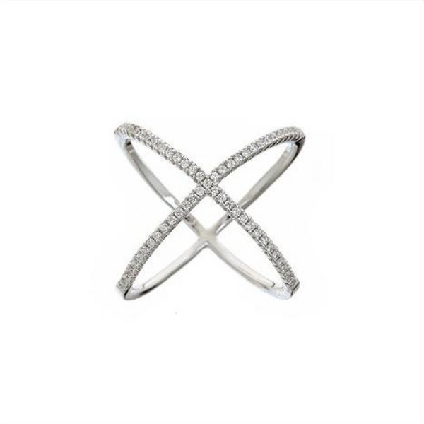 Pavé X Ring (Silver) - Melroso Jewelry