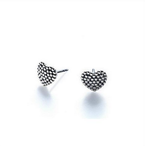 Rivet Heart Studs - Melroso Jewelry