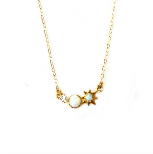 3 Wishes Opal and Diamond Necklace - Melroso