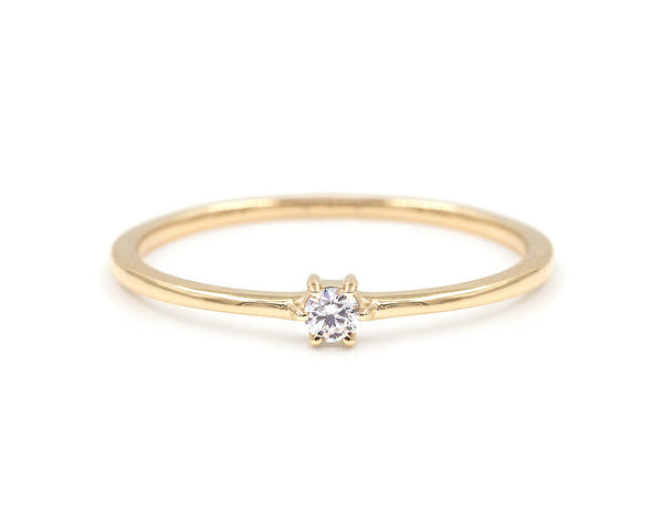 14KT Single Diamond Stacker - Melroso