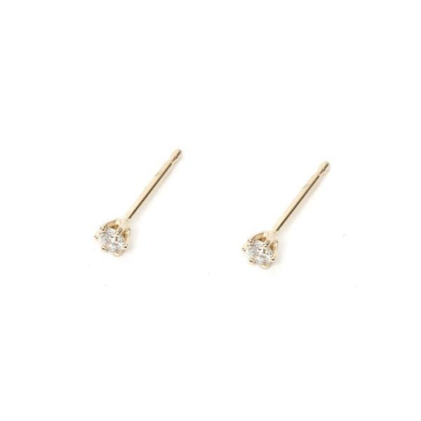 14KT Tiny Prong Set White Diamond Studs - Melroso