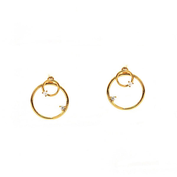 Small Circle Stud with Open Circle Jackets and CZ Accents - Melroso