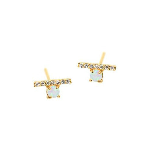 Opal and Bar Studs - Melroso Jewelry
