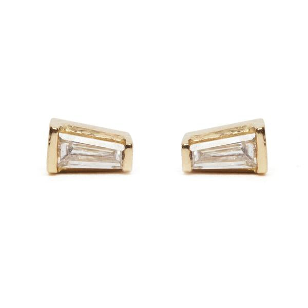 14KT Tapered Baguette Diamond Stud Earrings - Melroso