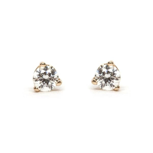 14KT Three Prong Bright Diamond Stud Earring - Melroso