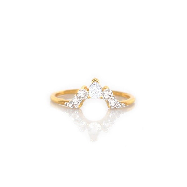 14KT Gold Diamond Angels Arc Ring - Melroso