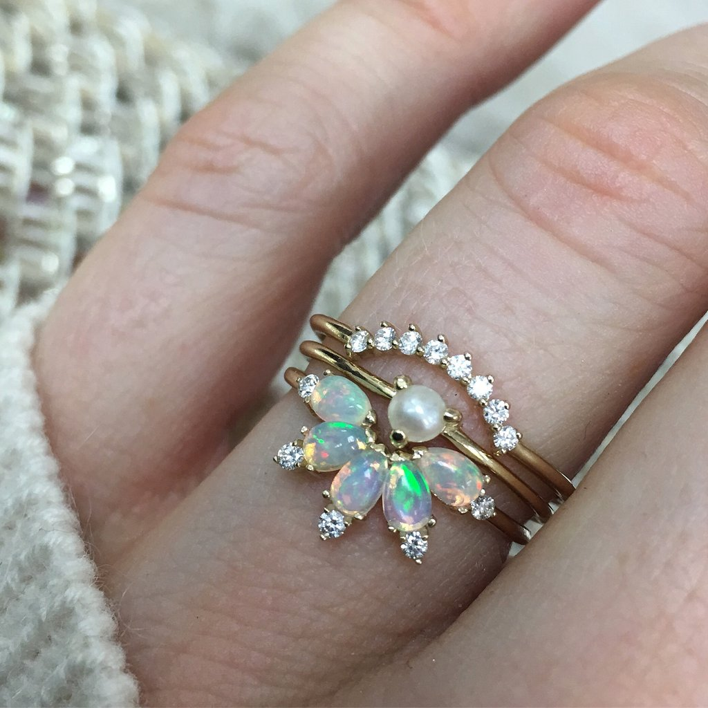 14KT Gold Diamond and Opal Parisian Butterfly Ring - Melroso