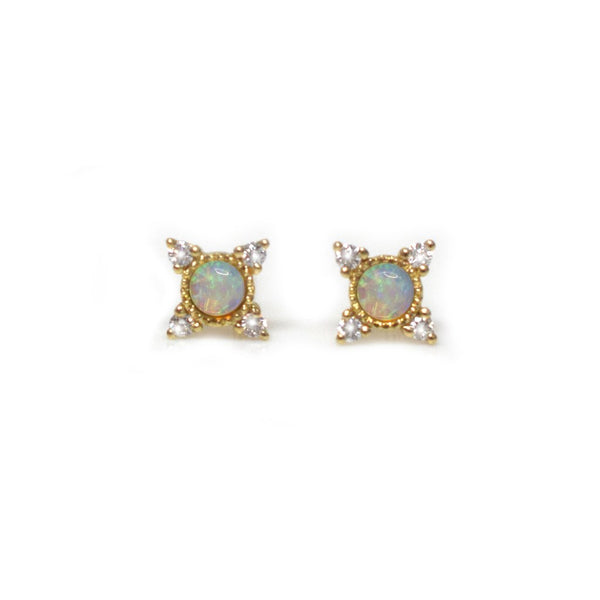14KT Gold Opal & Diamond Cosmos Studs - Melroso