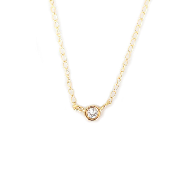 14KT Gold Solo Diamond Pendant - Melroso