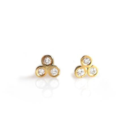 14kt Gold Diamond Trio Studs from La Kaiser