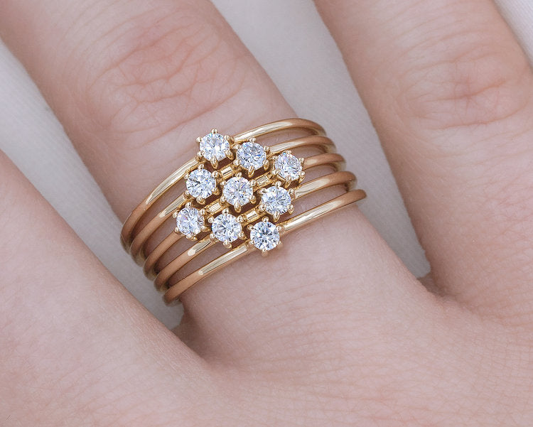 14KT Double Diamond Stacker - Melroso