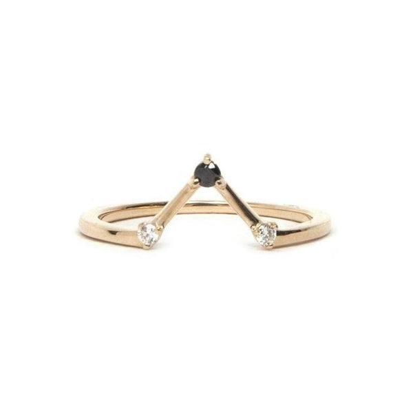 14KT Black and White Diamond Elyse Ring - Melroso Jewelry
