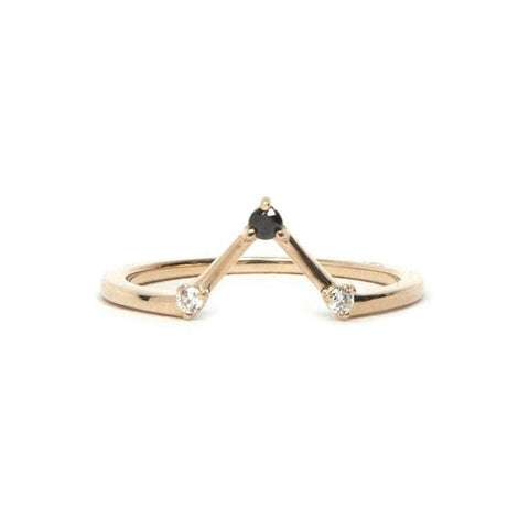 14KT Black and White Diamond Elyse Ring - Melroso