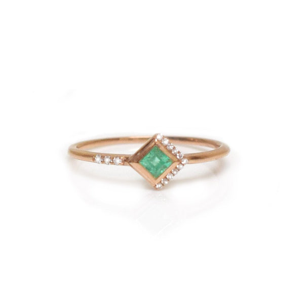 14KT Rose Gold Emerald & Diamond Mysterieux Ring - Melroso Jewelry