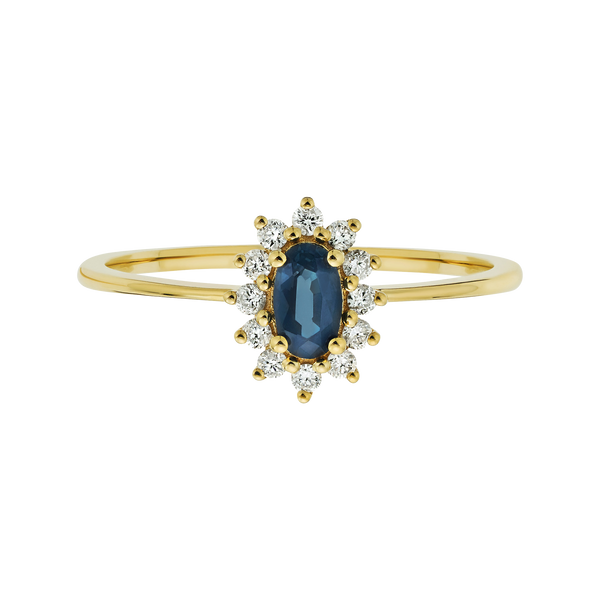 14kt Teal Sapphire and Diamond Fleurette Ring - Melroso
