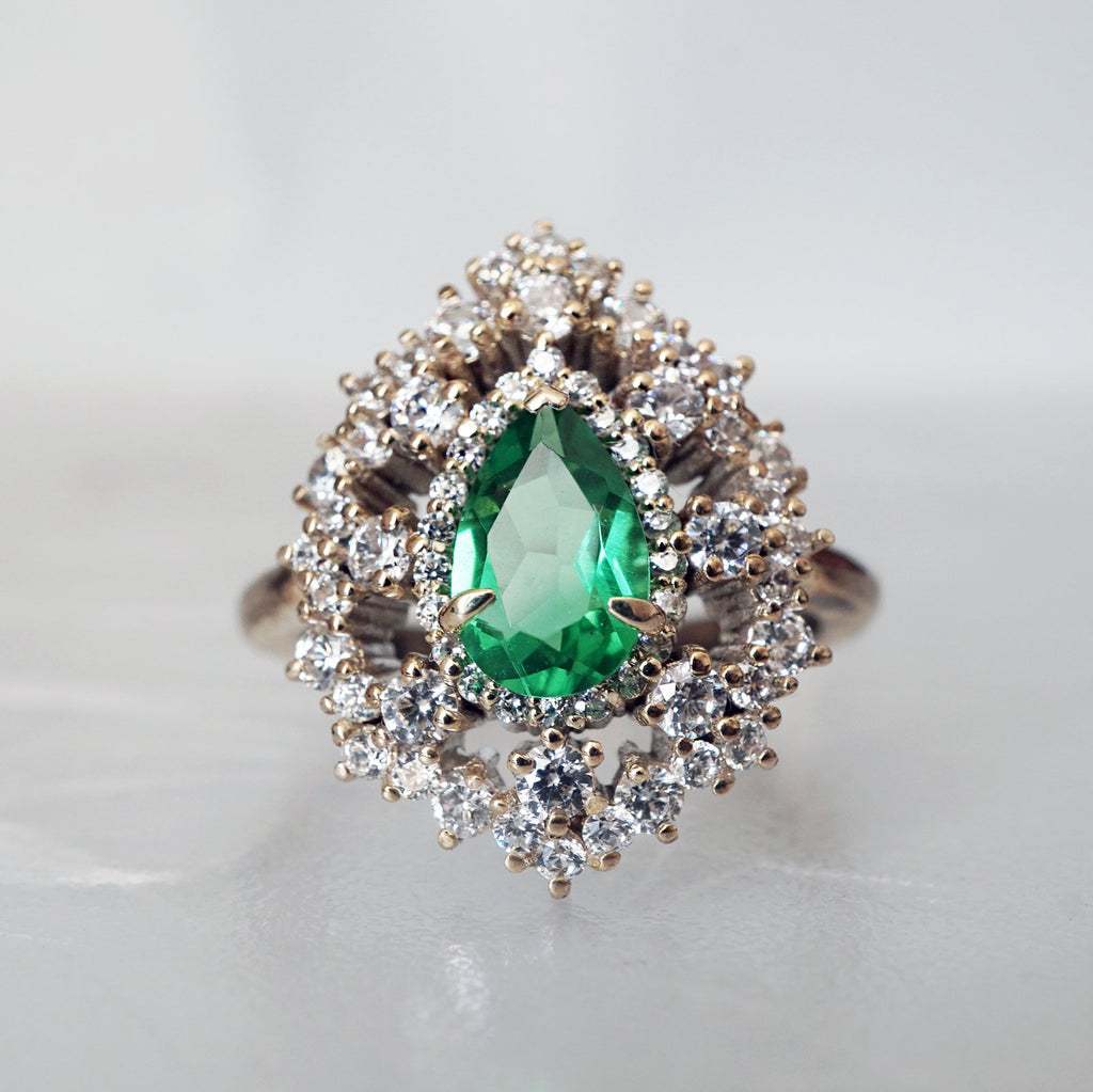 14KT Forest Queen Emerald Diamond RIng - Melroso