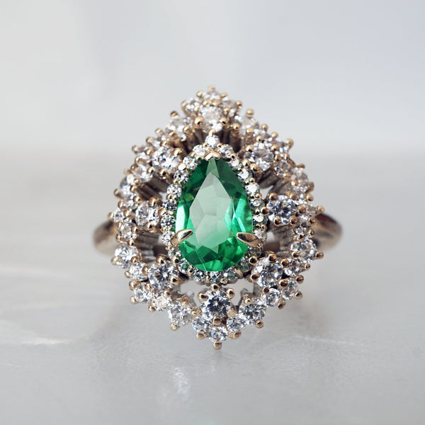 14KT Forest Queen Emerald Diamond RIng - Melroso Jewelry