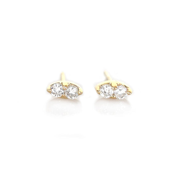 14KT Gold Diamond Pavilion Studs - Melroso