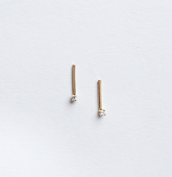 14KT Hammered Line Studs - Melroso Jewelry
