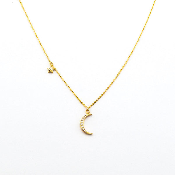 Moon & Star Necklace (Gold) - Melroso Jewelry