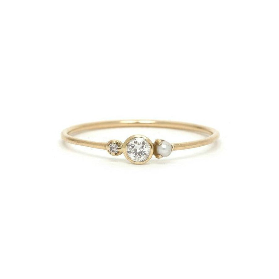 14KT Diamond and Pearl Nadia Ring - Melroso