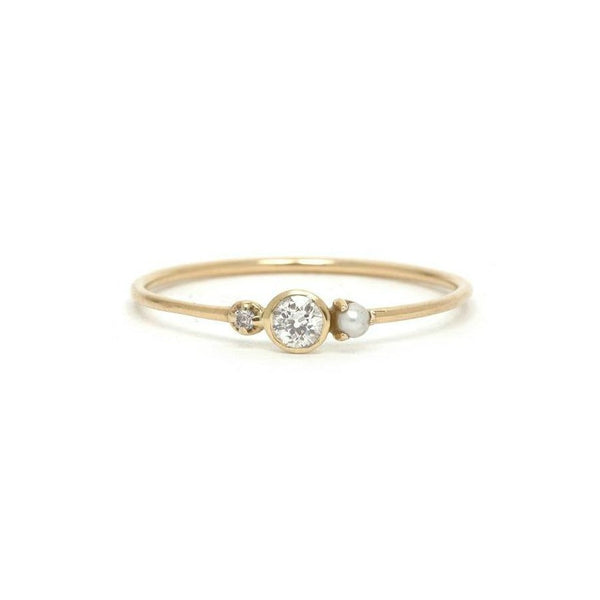 14KT Diamond and Pearl Nadia Ring - Melroso Jewelry