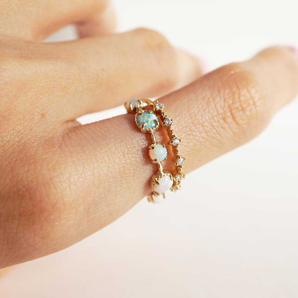 14KT Oceanic Opal Ring - Melroso Jewelry
