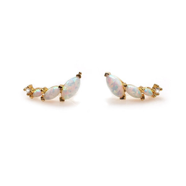 Opal and Diamond Wing Ear Climbers - La Kaiser - Melroso