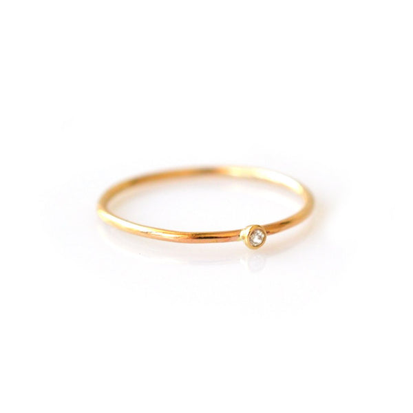 14KT Gold Solo Diamond Ring - Melroso