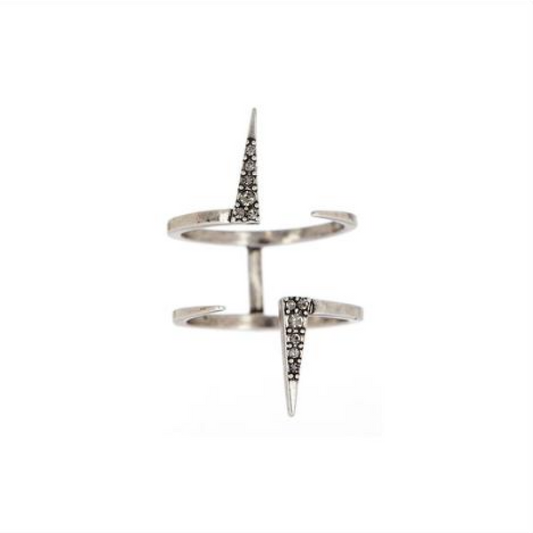 The Double Pave Spike Ring - Luv Aj- Melroso