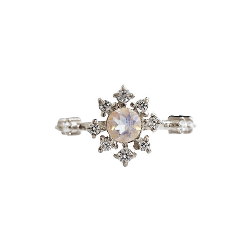 Moonstone Rose Thorn Ring - Melroso Jewelry