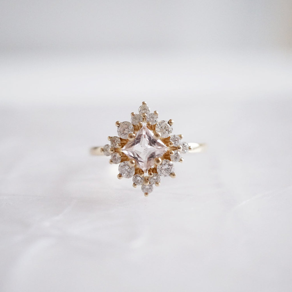 14KT Aphrodite Morganite Diamond Ring - Melroso Jewelry