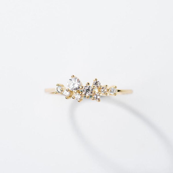 14KT Gold Snow Queen Dainty Ring - Melroso