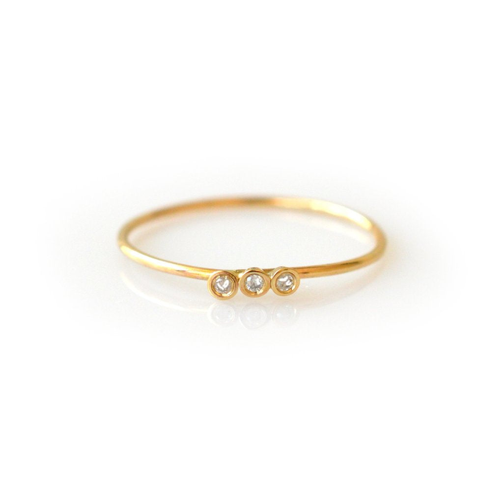 14KT Gold Diamond Trio Ring - Melroso