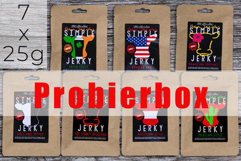 Beef Jerky Probierbox - Light Sample Box (7 x 25g)