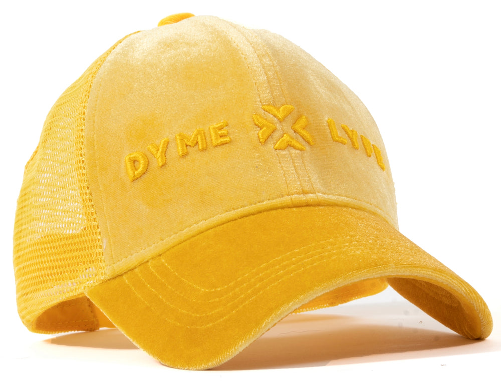 Fire Yellow Velour Mesh Trucker