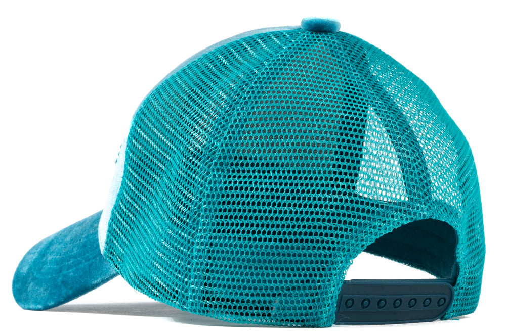 Load image into Gallery viewer, Lightning Blue Velour Mesh Trucker