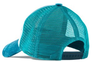 Lightning Blue Velour Mesh Trucker