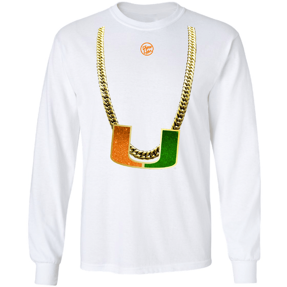 Men's White Turnover Chain Long Sleeve shirt