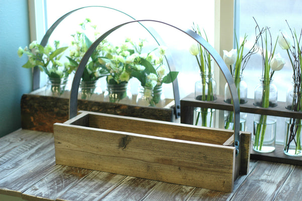 Primitive Rustic Mason Jar Tote with Metal Handle - Includes 3 Mason Jars