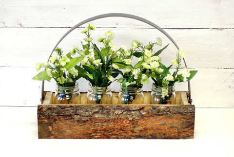 Rustic Bark Wood Mason Jar Tote, Includes Mason Jars